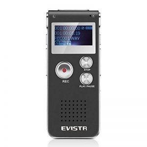 Evistr Portable Noir 8 Go Digital Audio Voice Recorder, lecteur de musique MP3, Dictaphone, Multifonctionnel Rechargeable Dictaphone Lecteur avec haut-parleur de la marque EVISTR image 0 produit