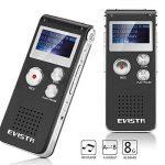 Evistr Portable Noir 8 Go Digital Audio Voice Recorder, lecteur de musique MP3, Dictaphone, Multifonctionnel Rechargeable Dictaphone Lecteur avec haut-parleur de la marque EVISTR image 2 produit
