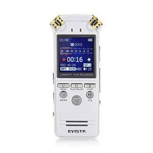 EVISTR Vocale Enregistreur Numérique Double Microphone Stéréo HD 8Go Haute-Fidélité Dictaphone Enregistrement Bruit Dynamique la Réduction 1.4 Inch TFT écran Coloré écran Multifonctions Coupe Segmentation Lnsetting étiquetage D'enregistrement Signet Avec image 0 produit
