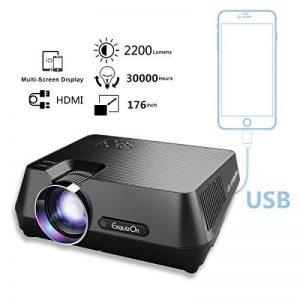 ExquizOn GT-S9 Vidéoprojecteur Portable LED Soutien HD 1080p HDMI USB VGA AV SD, Retroprojecteur 2200 Lumens LED HD 1080p Projecteurs pour Jeu Video Photos Films Match de Football de la marque ExquizOn image 0 produit