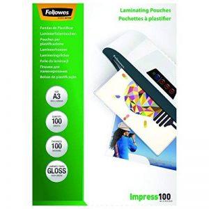 Fellowes 5351205 Pochettes de plastification brillantes Impress 100 microns A3 - Pack de 100 Transparent de la marque Fellowes image 0 produit