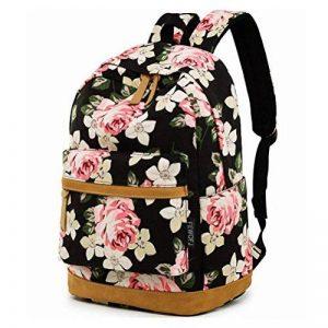 Feskin Sacs à dos scolaires Filles, Sacs à dos Femmes/Sacs à dos en toile avec fleurs pour Randonnée/École de la marque Feskin image 0 produit