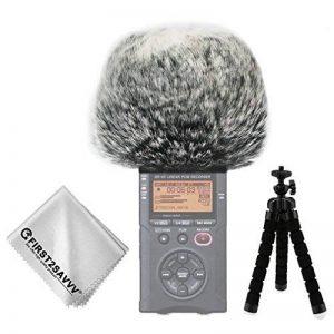 First2savvv Bonnette anti-vent Furry à l'extérieur pour enregistreurs numériques portables pour Tascam DR-40 DR40 + Trépied + chiffon de nettoyage TM-DM-DR40-B01TZ3 de la marque first2savvv image 0 produit