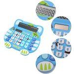 fittoway Adorable Creative 12chiffres double alimentation solaire chat Cartoon forme Calculatrice de bureau avec écran LCD Grand écran (Bleu) de la marque Fittoway image 1 produit