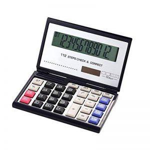 Fonction Standard Calculatrice avec pliant Boîtier,solaire et pile Calculateur de Bureau à 12 chiffres Noir et blanc de la marque Little ants image 0 produit