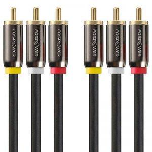FosPower [1m] 3RCA mâle à 3RCA mâle RWY Plugs, Vidéo Composite & Audio Stéréo Connecteurs AV câble pour les lecteurs DVD, magnétoscope, caméscope, projecteur, console de jeux et plus (Rouge/Blanc/Jaune) de la marque FosPower image 0 produit