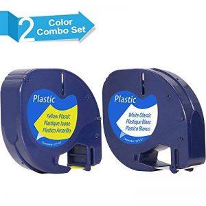 FreshWorld 2 x Étiquette Pour Dymo LetraTag Ruban Plastique 91201 91202 Compatible avec Dymo LetraTag LT-100H LT-100T LT-110T QX 50 XR XM 2000 Plus Dymo Étiqueteuse, Noir sur Blanc/Jaune 12mm x 4m de la marque Freshworld image 0 produit