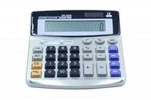 FUYUFU Calculatrice de Bureau à 12 Chiffres Calculette Fonction Standard Calculateur de Bureau Double Alimentation Calculatrice Solaire et Pile AA ( pile AA non inclus ) (DS-5500) de la marque image 0 produit