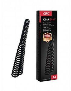 GBC ClickBind Lot de 50 Reliures spirale plastique Format A4 Capacité 145 Pages 16mm Noir de la marque GBC image 0 produit
