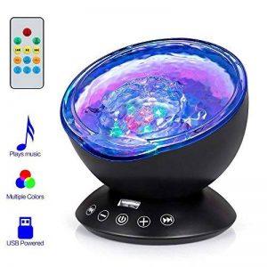 Gxzock télécommande Ocean Wave Vidéoprojecteur, clignotant Feu lampe de nuit avec lecteur de musique Intégré, 7Changement de couleur d'éclairage de mode, Choix Idéal pour bébé Chambre d'enfant Chambre à coucher Salon (Noir) de la marque GXZOCK image 0 produit