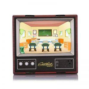 Hanbaili Projecteur de Smartphone de DIY, miroir en bois acrylique de fil de projecteur de téléphone portable d'amplificateur de TV d'imitation en bois mini, rendu de HD, angle de visualisation réglab de la marque Hanbaili image 0 produit