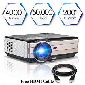 HD Vidéo Projecteur 4000 Haute Lumen Full HD 1080 P HDMI USB VGA 3.5mm Sortie Audio Multimédia LCD Cinéma Maison Projecteurs LED 50000hrs, avec 10W Haut-Parleur, Keystone Correcton, Fonction Zoom (Manuel Anglais et UK Plug) de la marque CAIWEI image 0 produit