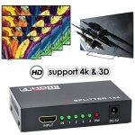 HDMI Switch 1x4 (1 Entrée 4 Sorties), Wrcibo Numérique HDMI Splitter Distributeur avec Full HD 1080P 4K*2K, 3D etc - Noir de la marque Wrcibo image 2 produit