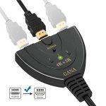 HDMI Switch 4k   GANA 3-Port HDMI Splitter Cable   Hdmi Câble Commutateur Prend en Charge 4K/1080P/3D Pour Xbox / PS3 / PS4 / Apple TV / Roku / Fire TV / Blue-Ray DVD Player de la marque GANA image 3 produit