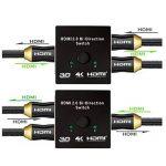 HDMI Switch, M.Way 4K Commutateur HDMI 2 Ports Bi-Directional 2 en 1 Sortie Compatible 3D 1080p pour DVD, HD TVs, Projecteurs, PS3, PS4, Ordinateur, Notebook ect de la marque M.Way image 3 produit