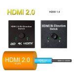 HDMI Switch, M.Way 4K Commutateur HDMI 2 Ports Bi-Directional 2 en 1 Sortie Compatible 3D 1080p pour DVD, HD TVs, Projecteurs, PS3, PS4, Ordinateur, Notebook ect de la marque M.Way image 1 produit
