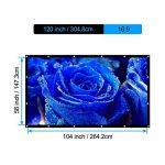HENZIN Écran de Projection Pliable et Portable 120 Pouces 270×153cm 16:9 HD 4K Toile pour Cinéma Maison, en intérieur ou en extérieur, Frontale ou par Transparence de la marque HENZIN image 3 produit