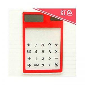 HONGYUANZHANG Calculatrice Solaire Transparente Ultra Mince D'Écran Tactile De 8 Chiffresetudiante De Calculatrice Scientifique Claire (80X119Mm), Rouge de la marque HONGYUANZHANG image 0 produit