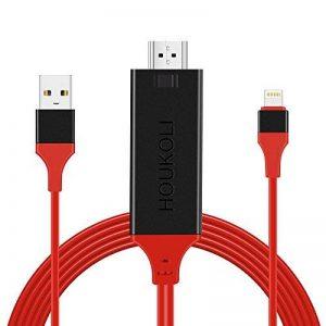 HOUKOLI Câble Lightning HDMI 2M Adaptateur Lightning vers HDMI 1080P Haute Vitesse Transmettre Audio Vidéo TV Projecteur, Compatible avec iPhone X/8/7/6/5 iPad iPod iTouch - Soutenir iOS 11 de la marque HOUKOLI image 0 produit