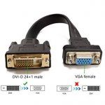 HYZUO Active DVI vers VGA Adaptateur DVI-D Dual Link 24 + 1 Mâle vers VGA Femelle Convertisseur de Câble Plat Vidéo pour Systèmes DVI comme HP / Dell / Lenovo Ordinateurs Portables et Ordinateurs de Bureau vers VGA Moniteurs ou Projecteurs de la marque HY image 2 produit