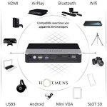 INÉDIT - HOEMENS, ENSEMBLE SALLE DE CINÉMA : VIDEOPROJECTEUR Full HD 1080P (3D, DLP, Android, Bluetooth, Airplay, Wifi, HDMI, Batterie) + HOME CINEMA 2.1 80 Watts & Bluetooth + CABLE HDMI + CABLE VGA… Une expérience Home cinéma inédite et incroyable de la image 2 produit