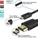JASDOIT 2m Câble Micro HDMI vers HDMI, soutien Ethernet, 3D, 4K, et Audio Return, Noir,pour GoPro HERO6 Black/ HERO5 Black, Asus T100/ Zenbook UX330UA, Lenovo Yoga, Plaqué Or de la marque FYELC image 2 produit
