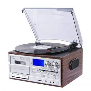 JORLAI Lecteur Tourne-disque retro avec Bluetooth et Haut-parleurs Stéréo Intégrés Affichage avec un Grand LCD Enregistreur &Support USB / SD Encodage MP3 / Cassette & Lecteur CD, Radio AM / FM, AUX IN, Sortie RCA de la marque JORLAI image 0 produit