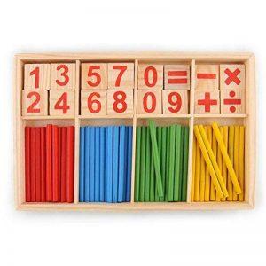Juleya 52 Spindles cartes de nombre en bois et des barres de comptage avec la boîte, matériel Montessori Sticks Mathématiques jouets éducatifs matériel pour Kid de la marque Juleya image 0 produit