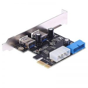 KKmoon Très Rapide Carte d'extension PCI-E PCI Express PCI-E 2 Ports USB 3.0 19 Broches USB3. 0 4 Broches Port IDE Profile Bas de la marque KKmoon image 0 produit