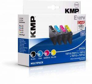 KMP E107V Pack cartouches d'encre équivalentes T071140 pour Epson Stylus D 1 x 7,4 ml et 3 x 5,5 ml 1607 de la marque KMP image 0 produit