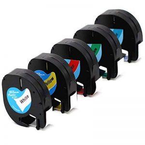 """Labelwell 12mmx 4m CompatibleDymo LetraTag 91201 91202 91203 91204 91205 Rubans d'étiquettes pour Étiqueteuse Dymo LetraTag Dymo LT-100H LT-100T LT-100T PLUS LT-100H PLUS QX-50 XM 2000 XR Label Maker (1/2"""" x 13',12mm x 4m) de la marque Labelwell image 0 produit"""