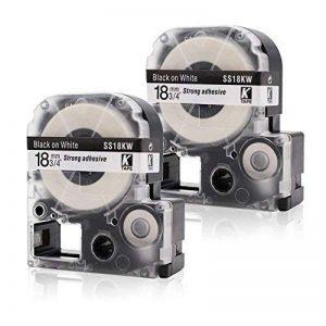 Labelwell 18mm LC-5WBN9 Noir sur blanc Rubans- 2 Rouleaux Compatible Epson LC-5WBN9 SS18KW Rubans d'étiquettes Cassette d'étiquette stratifiée adhésive standard pour Epson LabelWorks LW-300L LW-400 LW-600P LW-500 LM-700 LW-900P LW-300 LW-700 LW-1000P OK20 image 0 produit