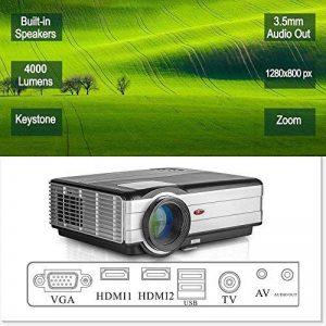 LCD HD projecteur Vidéo, 4000 Lumens WXGA Multimédia LED projecteur Home Cinema Theater 1080p Soutien HDMI USB extérieur de Divertissement Proyector pour Ordinateur iPhone Consoles de Jeux DVD de la marque EUG image 0 produit