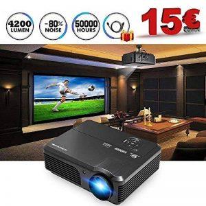 LCD Projecteur 1080 P Full HD 4200 Lumens WXGA, projecteurs Home Cinéma avec HDMI USB VGA AV Sortie Audio pour iPhone iPad PC Ordinateur Android Téléphone Tablet DVD TV(Manuel Anglais et UK Plug) de la marque CAIWEI image 0 produit