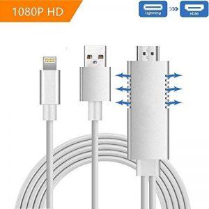 Lightning vers HDMI Cable Adaptateur,Musou 2m High Speed Full HD 1080P HDTV MHL Adaptateur de câble Plug and Play, pour iPhone/Se, iPad Air/Mini / Pro TV Projecteur de la marque WeChip image 0 produit