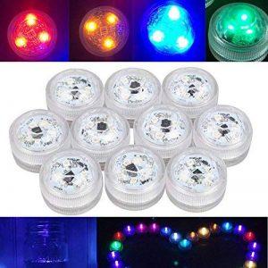 Lot de 10bougies à LED à changement de couleur, étanche sous l'eau submersible sans flamme à piles Bougies à LED pour fête de mariage Barre de vase Décoration lumière d'ambiance de la marque H.W image 0 produit