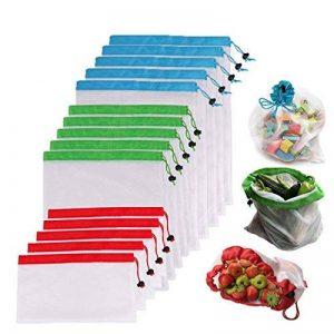 Lot de 15pcs réutilisables en maille fabriquer lavable Transparent Sacs pour courses, stockage des fruits Légumes Jardin écologique des Sacs de Net de la marque LOUTY image 0 produit