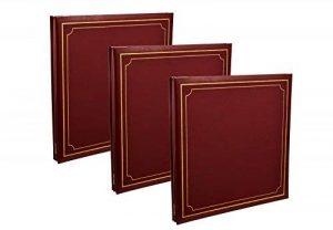 Lot de 3 très grands albums photo Arpan - De 72 pages et 144 faces - Auto-adhésifs - 32 x 26 cm - Avec couvertures en PU (polyuréthane) - À reliures par anneaux, Red/Burgundy, 33 x 3 x 33 cm Approx de la marque ARPAN image 0 produit