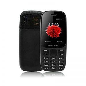 M-Horse B2000 Téléphones Portables à Grosses Touches 2.4'' GSM Super Haut-Parleur 2000mAh Grosse Batterie Dual SIM Double Veille Radio FM Appareil Photo Numérique Enregistreur Vocal Voix Joueur -Noir de la marque M-HORSE image 0 produit