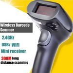 M3M Bluetooth Wifi Wireless Barcode Scanner 300M Distance De Transmission 2.4 G Poignée Automatique Lecteur De Codes À Barres Magasin, Supermarché, Entrepôt (Mise À Niveau de la marque M3M image 2 produit