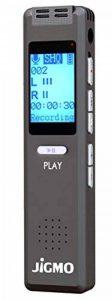 Meilleur Activation vocale Enregistreur appareil pour clair en Réunion et en cours d'enregistrement audio, fichiers MP3, dictaphone numérique de poche Mini Player, son de haute qualité Microphones, écouteurs, câble USB, Jigmo de la marque JiGMO image 0 produit