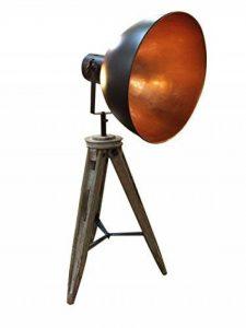 Meubletmoi Lampe trépied look industriel en Bois & Métal Coupole orientable cuivrée Luminaire rétro et branché - STUDIO de la marque Meubletmoi image 0 produit