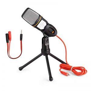 Microphone à condensateur avec trépied pour PC portable ordinateurs son enregistrement en Podcast Studio, parfait pour chat Skype MSN (Noir) de la marque All_Star image 0 produit