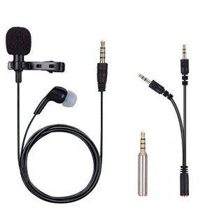 Microphone Jack 3,5mm, iGOKU Micro avec Ecouteur à Condensateur Omnidirectionnel Cravate Revers Tie Clip pour iPhone / Andriod / Windows / Mac et Youtube / Interview / Skype / Vidéo, Projet (2,0m ) de la marque iGOKU image 0 produit