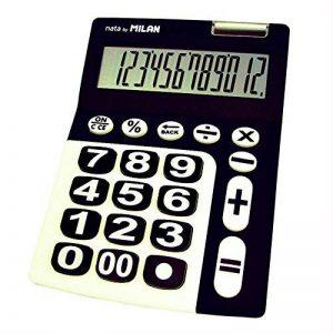 Milan 150912KBL–Calculatrice à 12chiffres, grandes touches, noir et blanc de la marque Milan image 0 produit
