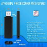 Mini Enregistreur Vocal compatible avec les téléphones intelligents| Enregistrements continus et activés par la voix | jusqu'à 94 heures de capacité |26 heures de vie de la batterie de la marque aTTo Digital image 2 produit