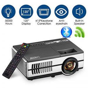 Mini projecteur sans fil Bluetooth HDMI - 1500 Lumens LED LCD WiFi 1080 P multimédia Home Cinéma Cinéma Film Jeux vidéo Partie en plein air y compris USB, VGA, Jack audio 3,5 mm, Haut-parleur intégré, Keystone de la marque WIKISH image 0 produit