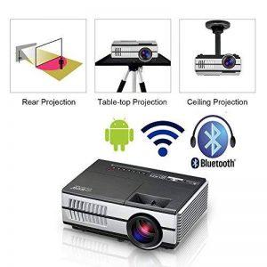 Mini Wifi Projecteur avec Bluetooth 1500 lumen LED LCD Projecteurs Android Portable HDMI USB VGA Audio pour Home Cinéma En Plein Air Film Console de Jeu, Airplay Sans Fil (Fiche britannique, manuel en anglais) de la marque EUG image 0 produit