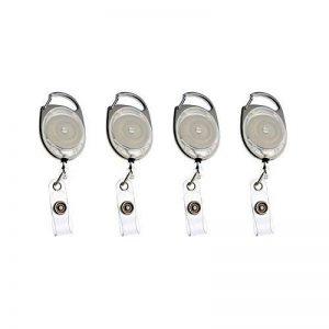 MMY Rétractable Reel Translucide avec Porte-Clés et Insigne Strap pour ID Badge, Cartes Clés-Blanc … (4) de la marque MMY image 0 produit