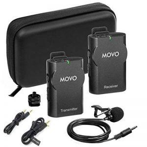 Movo Système de Microphone Cravate sans Fil WMIC10 2,4Ghz pour appareils Photo DSLR, Spartphones iPhone/iPad/Android et Caméscopes (Portée de Transmission DE 15m) de la marque Movo image 0 produit